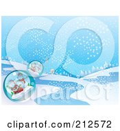 Royalty Free RF Clipart Illustration Of A Background Of Santa And Snowman Snow Globes In A Wintry Landscape by YUHAIZAN YUNUS