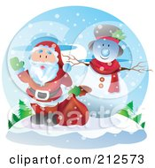 Royalty Free RF Clipart Illustration Of Santa Waving By A Snowman On A Hill by YUHAIZAN YUNUS