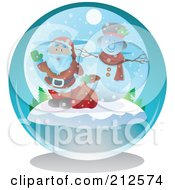 Royalty Free RF Clipart Illustration Of A Waving Santa And Snowman In A Snow Globe by YUHAIZAN YUNUS