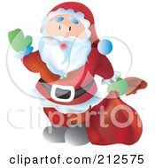 Royalty Free RF Clipart Illustration Of A Happy Santa Looking Up And Waving by YUHAIZAN YUNUS