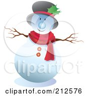 Royalty Free RF Clipart Illustration Of A Cute Snowman Wearing Holly In His Hat by YUHAIZAN YUNUS
