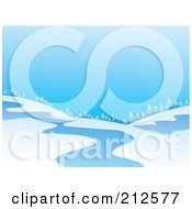 Royalty Free RF Clipart Illustration Of A Winter Landscape Of A Treeline On Hills Near A Stream