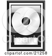 Clipart Illustration Of A Platinum Music Disc Framed With A Blank Label by elaineitalia