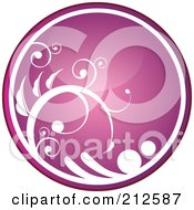Royalty Free RF Clipart Illustration Of A Shiny Pink Vine Website Or App Icon Button by YUHAIZAN YUNUS