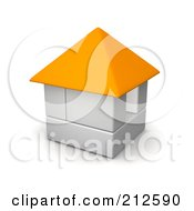 Royalty Free RF Clipart Illustration Of A 3d Block House With An Orange Roof by Jiri Moucka