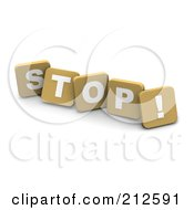 3d Tan Blocks Spelling STOP