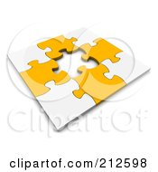 Poster, Art Print Of 3d White And Orange Puzzle With A Piece Missing From The Center