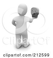 Royalty Free RF Clipart Illustration Of A 3d Blanco Man Facing Away And Holding A Skull by Jiri Moucka