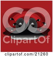 Clipart Illustration Of Two Stereo Speakers In A Puddle Blaring Loud Songs Over A Red Rainbow Background by elaineitalia