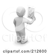 Royalty Free RF Clipart Illustration Of A 3d Blanco Man Facing Away And Holding A Letter by Jiri Moucka