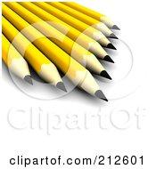 Royalty Free RF Clipart Illustration Of 3d Sharp Yellow Pencils by Jiri Moucka