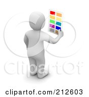 Royalty Free RF Clipart Illustration Of A 3d Blanco Man Facing Away And Holding Color Samples
