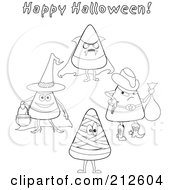 Royalty Free RF Clipart Illustration Of A Digital Collage Of Outlined Halloween Candy Corn In Costumes by erikalchan