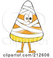 Royalty Free RF Clipart Illustration Of A Halloween Candy Corn In A Mummy Costume by erikalchan