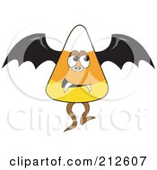 Royalty Free RF Clipart Illustration Of A Halloween Candy Corn In A Vampire Bat Costume by erikalchan