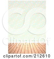Royalty Free RF Clipart Illustration Of A Background Of A Wood Floor And Retro Swirl Wallpaper Wall by Arena Creative