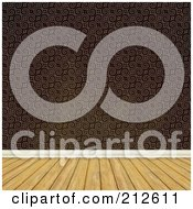 Royalty Free RF Clipart Illustration Of A Background Of A Wood Floor And Brown Baroque Wallpaper Wall