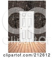 Royalty Free RF Clipart Illustration Of A Background Of A Wood Floor And Door In A Brick Wall by Arena Creative