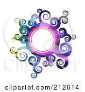 Royalty Free RF Clipart Illustration Of A Gradient Colorful Sun Or Floral Circle Frame by Arena Creative