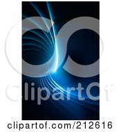 Royalty Free RF Clipart Illustration Of A Glowing Blue Fractal Over Black