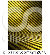 Royalty Free RF Clipart Illustration Of A Background Of Grungy Yellow And Black Hazard Stripes Crossing by Arena Creative