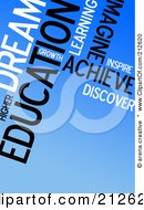 Royalty Free RF Clipart Illustration Of A Background Of Educational Text Words On Blue