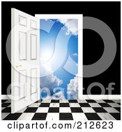 Royalty Free RF Clipart Illustration Of A Checkered Floor And An Open Door Leading To Heaven Against A Black Wall