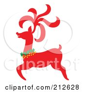 Royalty Free RF Clipart Illustration Of A Red Christmas Reindeer 3 by Cherie Reve
