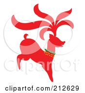 Royalty Free RF Clipart Illustration Of A Red Christmas Reindeer 1 by Cherie Reve