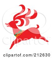 Royalty Free RF Clipart Illustration Of A Red Christmas Reindeer 4 by Cherie Reve