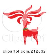 Royalty Free RF Clipart Illustration Of A Red Christmas Reindeer 5 by Cherie Reve