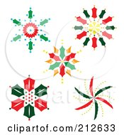 Royalty Free RF Clipart Illustration Of A Digital Collage Of Colorful Christmas Snowflake Designs 1 by Cherie Reve