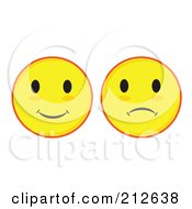 Royalty Free RF Clipart Illustration Of A Digital Collage Of Yellow Smiley And Sad Faces
