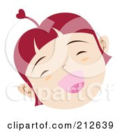 Royalty Free RF Clipart Illustration Of A Happy Faced Girl