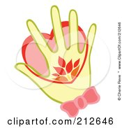 Royalty Free RF Clipart Illustration Of A Yellow Hand Warming A Heart by Cherie Reve