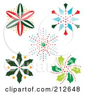 Royalty Free RF Clipart Illustration Of A Digital Collage Of Colorful Christmas Snowflake Designs 2 by Cherie Reve