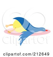 Royalty Free RF Clipart Illustration Of A Lazy Blue Duck by Cherie Reve