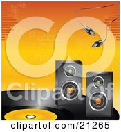 Cables Over Two Radio Speakers On A Large Vinyl Record On An Orange Background by elaineitalia