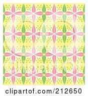 Royalty Free RF Clipart Illustration Of A Background Of Pink And Green Spring Flowers And Leaves On Yellow by Cherie Reve