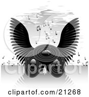 Clipart Illustration Of Three Speakers With Black Angel Wings Blaring Loud Songs With Musical Notes by elaineitalia #COLLC21268-0046