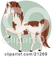Clipart Illustration Of A Prancing White And Brown Pinto Horse In Profile Over A Green Circle