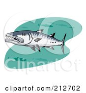 Royalty Free RF Clipart Illustration Of Swimming Barracuda Fish by patrimonio