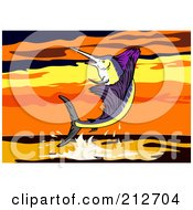 Royalty Free RF Clipart Illustration Of A Sailfish Leaping At Sunset