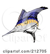 Royalty Free RF Clipart Illustration Of A Sailfish Jumping