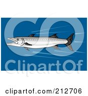 Royalty Free RF Clipart Illustration Of A Fast Swimming Barracuda Fish by patrimonio