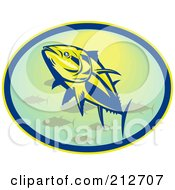 Royalty Free RF Clipart Illustration Of A Swimming Bluefin Tuna Logo by patrimonio