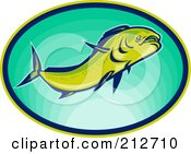 Royalty Free RF Clipart Illustration Of A Swimming Fish Logo by patrimonio