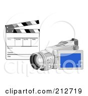 Royalty Free RF Clipart Illustration Of A Clapperboard And Video Camera by patrimonio