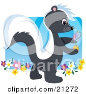 Clipart Illustration Of A Cute Smelly Skunk Walking In A Flower Garden And Spraying Fragrance