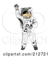 Royalty Free RF Clipart Illustration Of A Waving Astronaut by patrimonio